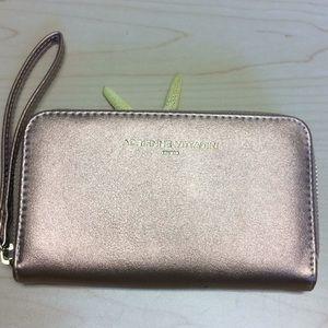 Adrienne Vittadini rose gold wallet, phone pocket